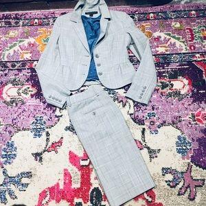 Express blue plaid skirt 0 jacket 2 suit